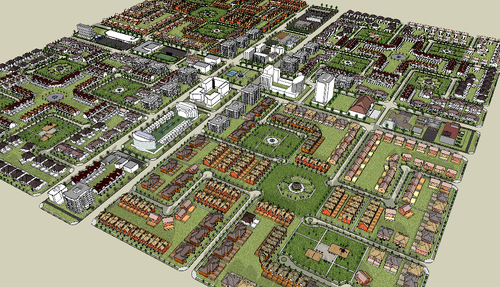 A neighbourhood model showing the network layout that differntiates paths from roads