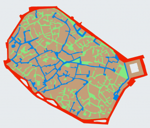 Figure 2: A typical medieval city street network within a perimeter wall, now a peripheral arterial. Visitors get easily lost in the maze, but not its residents.