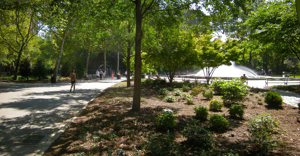 A central neighborhood square where all major pedestrian paths converge