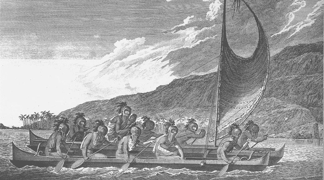 CatamaranPriests_traveling_across_kealakekua_bay_for_first_contact_rituals2